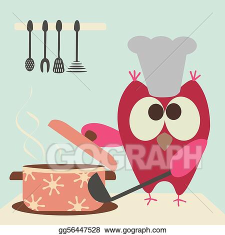 cute owl with a bawl cooking in the