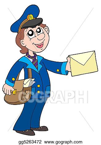 Cute postman with letter