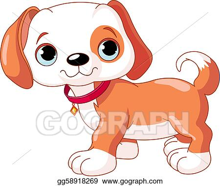 Clipart cute walking puppy wearing a red collar with a dog tag stock