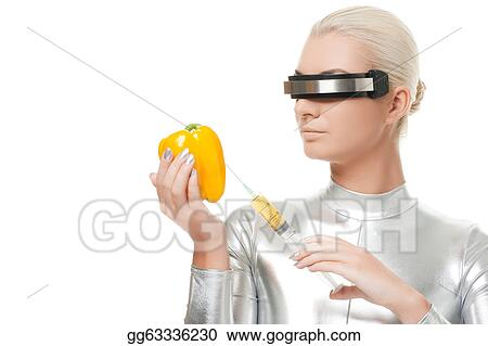 Cyber woman taking vitamins from sweet pepper