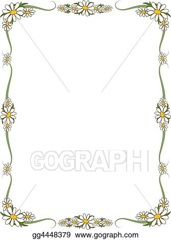 Stock Illustration - Daisy Border. Clipart Drawing gg4448379