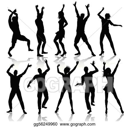 Vector Art - Dancing people silhouettes. Clipart Drawing ...