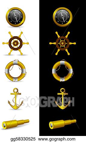 Different Nautical Icons - Vector