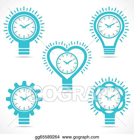 Eps Illustration Different Shape Clock Vector Clipart