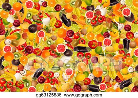 Different types of fruit and vegetables as background, colorful
