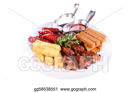Dish meal, chicken, sausage, potatoes, toast.