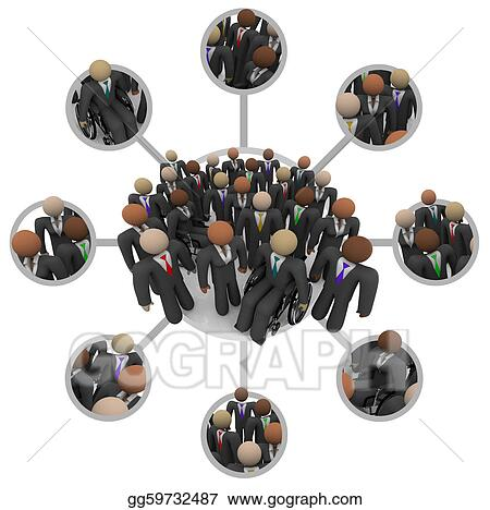 Stock Illustration - Diverse workforce of connected ...
