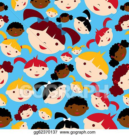 Vector Art - Diversity children faces pattern. Clipart Drawing ...