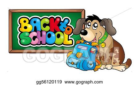 Dog with school bag and chalkboard