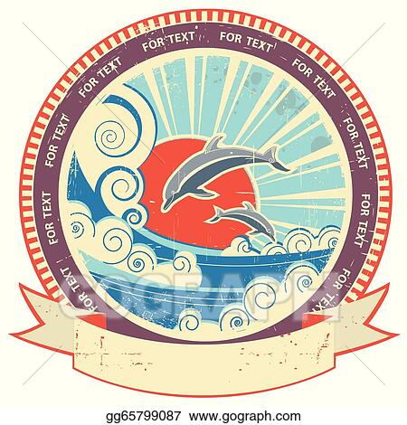 Dolphins in sea waves.Vintage label and scroll for text on old texture background