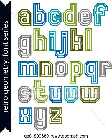 Vector Stock - Double lines acute-angled geometric font with ...