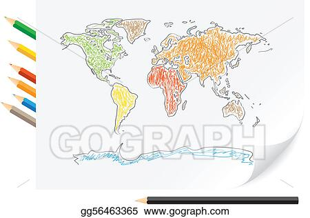 drawing world map by a color pencils