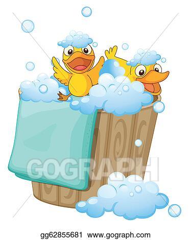Vector Clipart - Duckling in a foam bucket. Vector Illustration ...