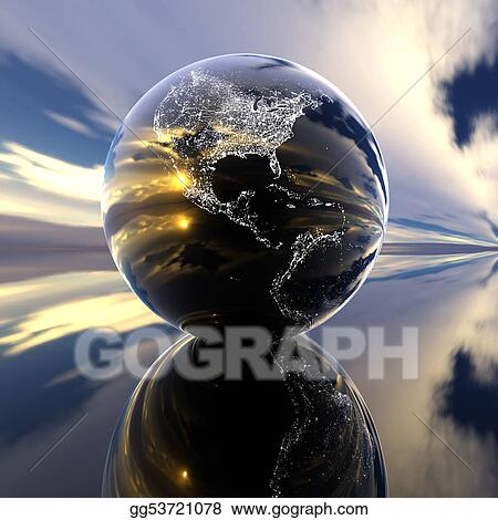 Earth model with reflection on the background
