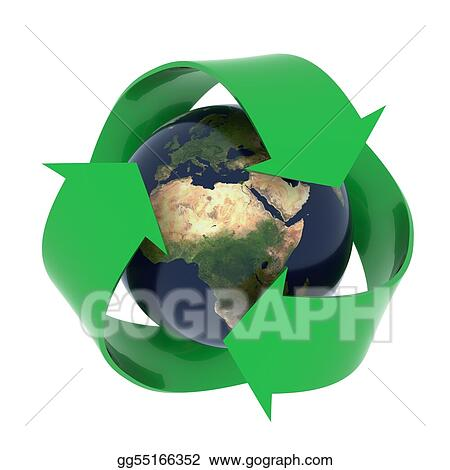 Earth with recycling symbol