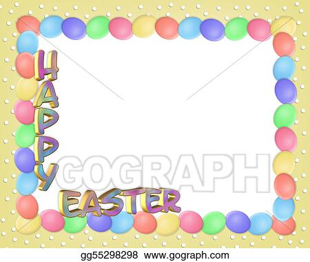Easter Egg In Grass Border Clipart