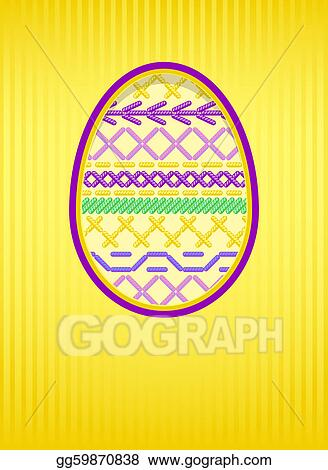 Easter card with a hole and embroidery.