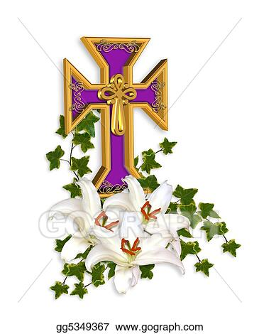Stock Illustration - Easter cross and lilies. Clip Art gg5349367 ...