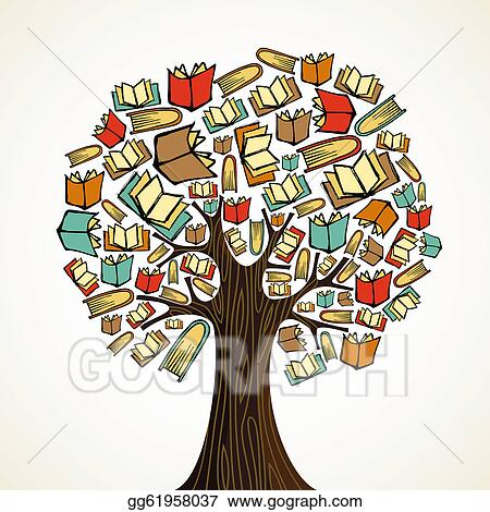 ... Education concept tree with books. Stock Clip Art gg61958037 - GoGraph