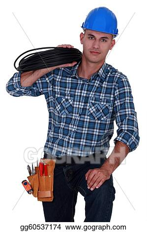 Electrician carrying spool of wiring