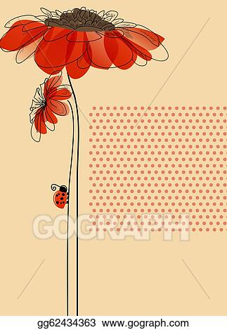 Flower Card on Clip Art   Elegant Vector Card With Flowers And Cute Ladybug  Stock