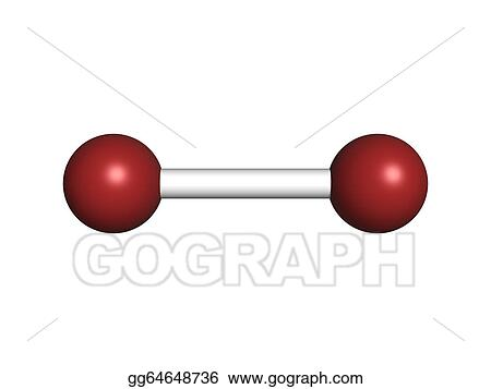 Clip Art - Elemental bromine (br2), molecular model. Stock ...