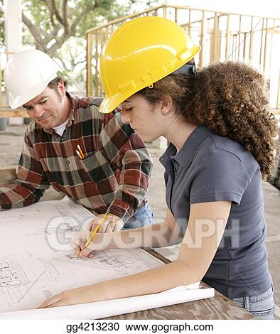 Engineering Student Marking Blueprints