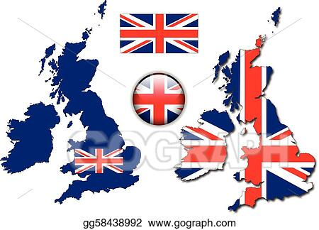 England UK flag, map, button vector