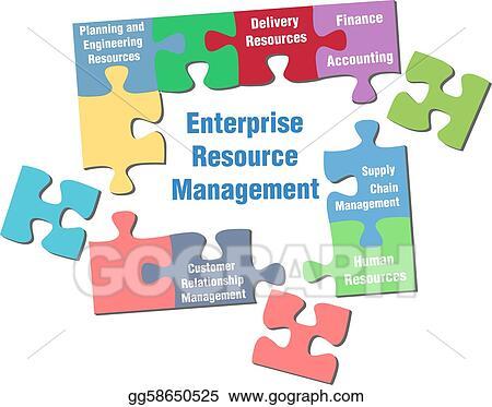 Stock illustration solution to enterprise resource management jigsaw