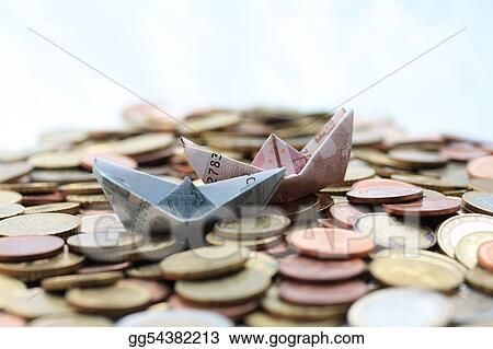 Euro boats sailing on a euro coin sea