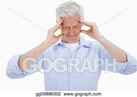 Exhausted man having a strong headache