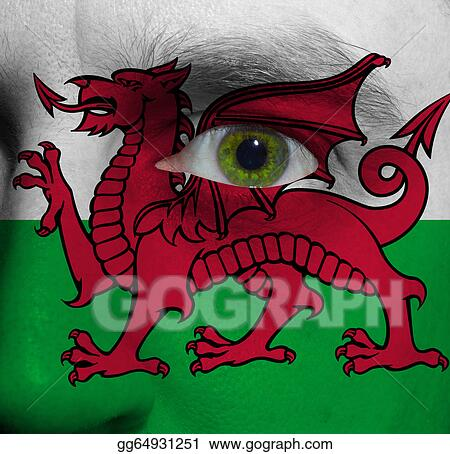Stock Illustration - Face with the welsh flag painted on it ...