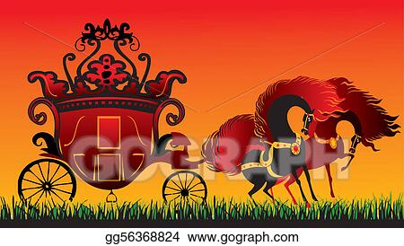 Royal carriage in silhouette royalty free stock vector art - Vector Illustration Fairy Tale Carriage Stock Clip Art