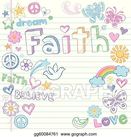 Faith & Dove Sketchy Doodles Vector