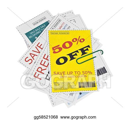 Fake Coupon Clippings with Paper Clip