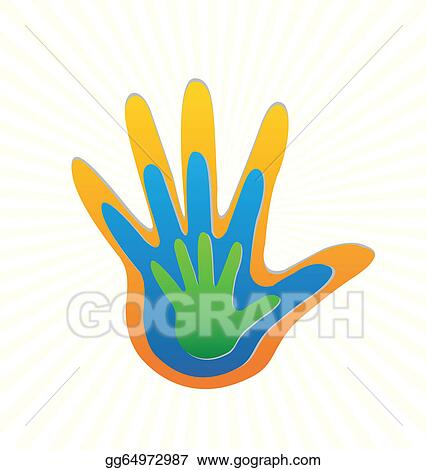 Stock illustration family hands protection logo vector stock art