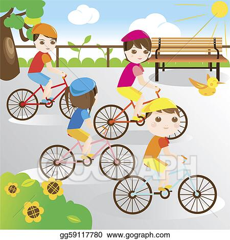 Kid in garden kid in garden line art cartoon image kid in garden line - Drawing Family Riding Bicycle In The Park Clipart