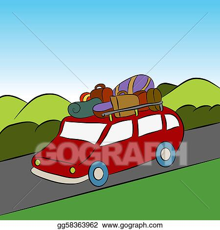 Stock Illustrations - Family Vacation Car Trip. Stock Clipart