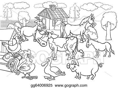 vector stock farm animals cartoon for coloring book clipart illustration gg64006925 gograph. Black Bedroom Furniture Sets. Home Design Ideas