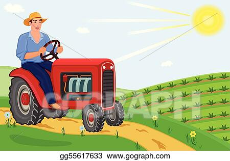 Farmer driving his tractor