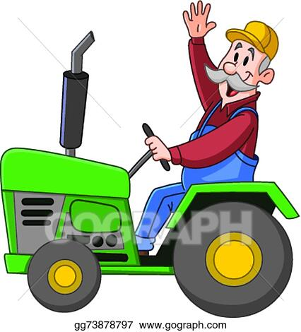 ... farmer driving a tractor and waving hello. Stock Clip Art gg73878797