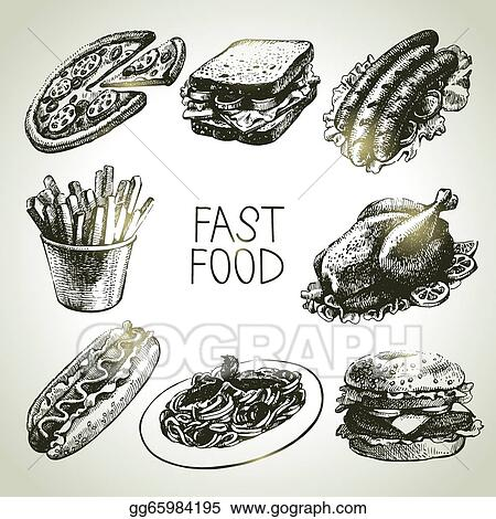 Drawings - Fast food set. Hand drawn illustrations . Stock