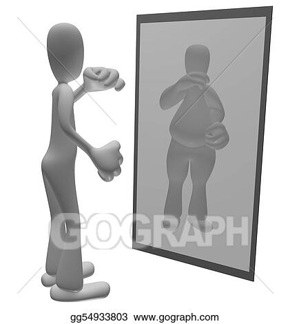 Clipart - Fat person looking in mirror. Stock Illustration ...