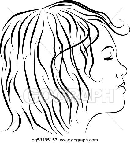 Female Head Profile Line Drawing