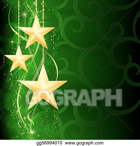 Festive dark green Christmas background with golden stars, snow flakes and grunge elements.