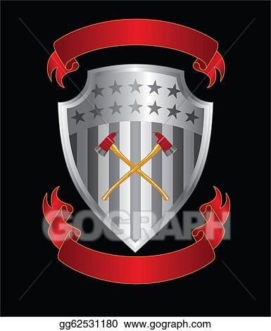 stock illustration firefighter axes on shield clip art gg62531180. Black Bedroom Furniture Sets. Home Design Ideas