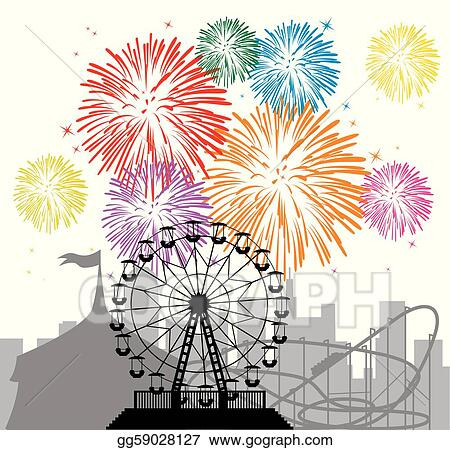 Vector Clipart - Fireworks and silhouettes of a city and ...