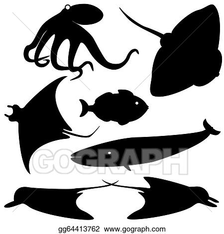 Fish silhouettes vector set 4