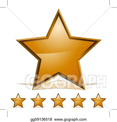 Vector Clipart - Five gold stars rating icon. Vector Illustration ...