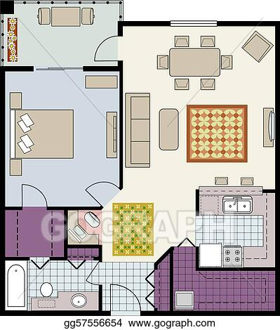 Eps vector floor plan of one bedroom condo stock for 1 bedroom condo floor plans